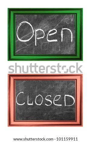 Open and closed signs white chalk handwriting in  wood frames - stock photo