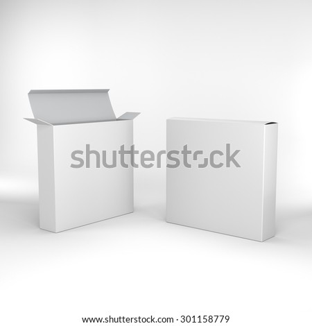 open and closed two blank box products template - stock photo