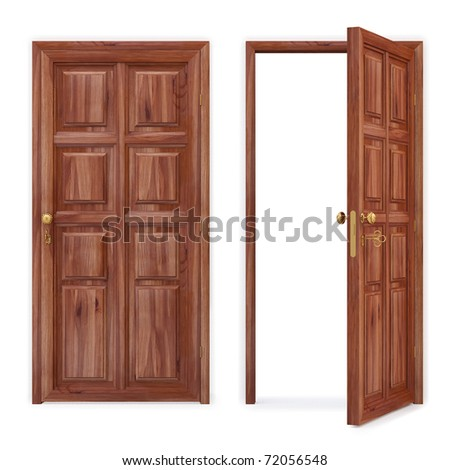 open and closed wooden doors. isolated on white. with clipping path. - stock photo
