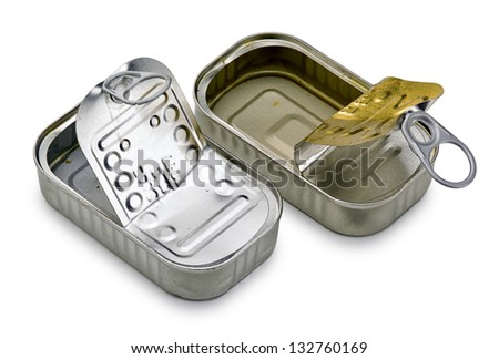 open and empty cans on white background