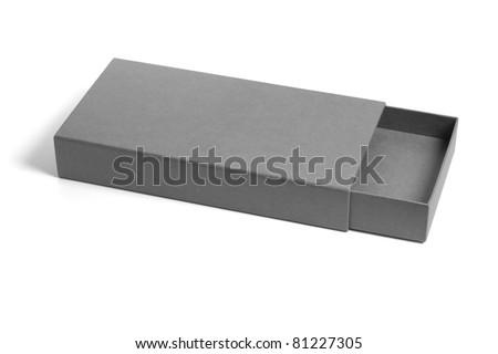 Open and empty rectangular flat gift box on white background - stock photo