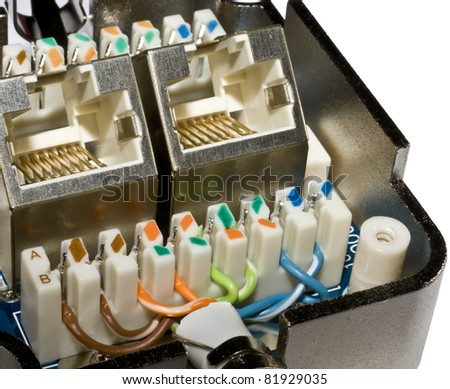Open and wired Cat 5e network socket.
