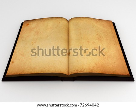 Open antic book with empty pages isolated over a white background. - stock photo