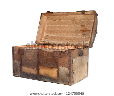Open antique box or treasure chest on a white background. - stock photo