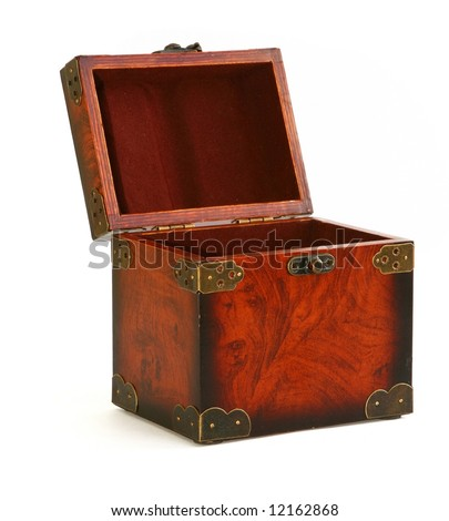 open antique wooden trunk on white background, natural shadow at the left side