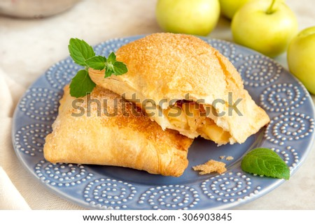 open apple turnover on plate with mint and raw apples close up - stock photo