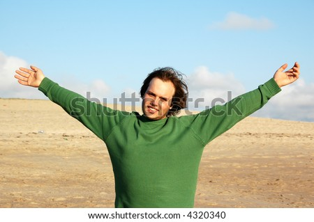 open arms man - stock photo