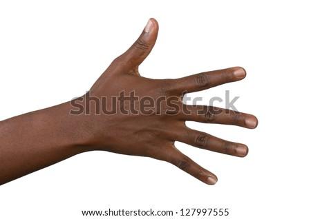 Open back of black woman's hand, isolated, studio shot - stock photo