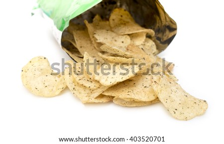 Open bag with potato chips isolate on white background. - stock photo