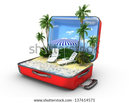 Open baggage, vacation concept - stock photo