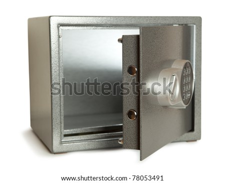 Open bank safe isolated on white - stock photo