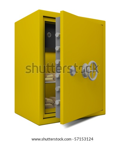 Open Bank Safe With Gold - 3d illustration - stock photo
