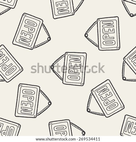 open banner doodle seamless pattern background