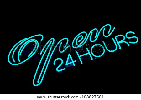 open bar restaurant 24 hours blue neon sign on black - stock photo