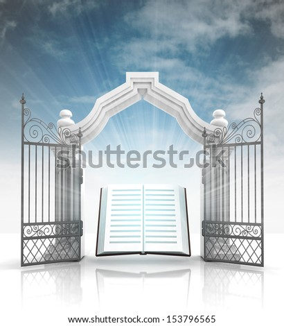 open baroque gate with holy bible and sky illustration - stock photo