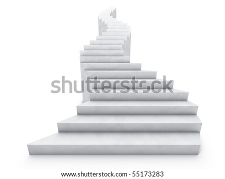 open bent staircase isolated on white - stock photo