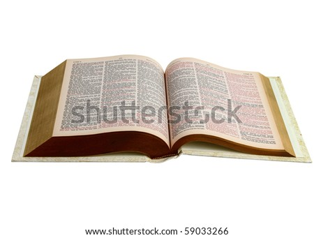 Open Bible Book isolated on white