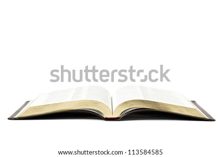 Open bible book isolated on white background - stock photo