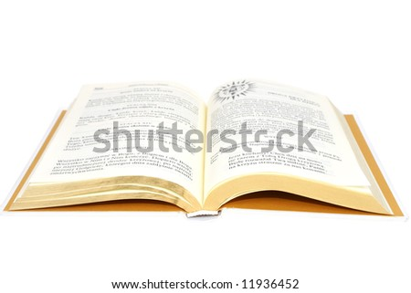 Open bible book isolated on white background