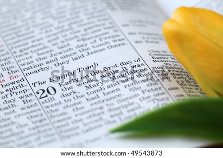 Open Bible with selective focus on the text in John 20 about Jesus' resurrection - Empty tomb. Shallow DOF - stock photo
