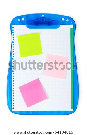 Open binder with reminder notes and blank page - stock photo