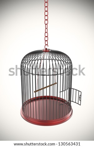 Open bird cage, 3d rendered image - stock photo