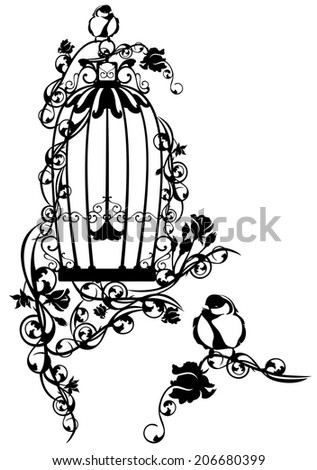 open bird cage twined with rose flowers with a little bird sitting free - black and white design - stock photo