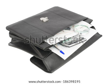 Open black briefcase and business objects. Isolated on white background - stock photo