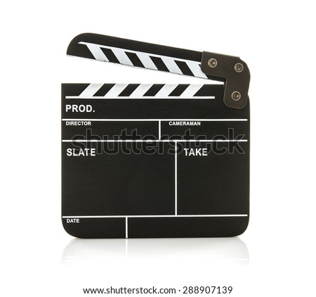 Open Black Clapperboard on a White Background - stock photo