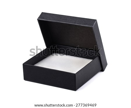 Open black gift box isolated - stock photo