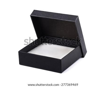 Open black gift box isolated - stock photo