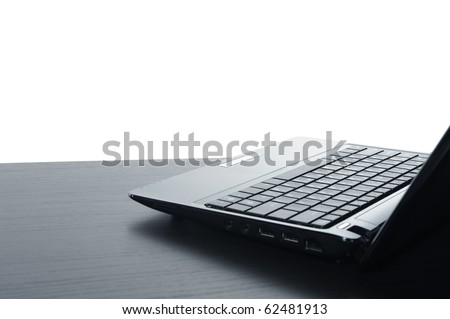 Open black laptop computer, isolated on white background. - stock photo