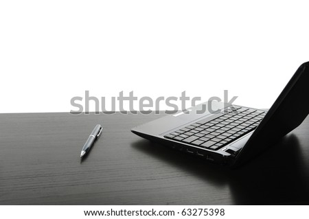 Open black laptop computer. Isolated on white background - stock photo