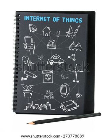Open black notebook on white background with doodle icon relate with Internet of Things (IOT) , Technology concept. - stock photo