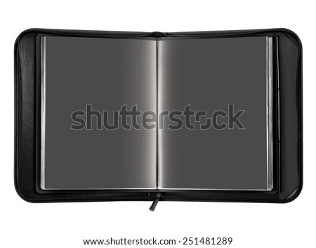 Open black portfolio case on white background.  - stock photo