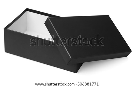 Open black shoe box isolated on white with clipping path