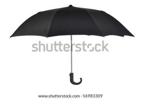 Open black umbrella isolated on white background