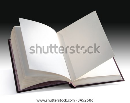 Open blank book isolated with a clipping path. You can insert your own design, text or picture. - stock photo