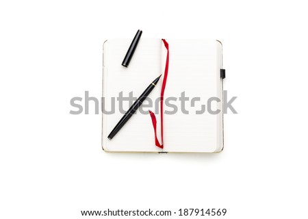 open blank diary with japanese pen brush and red bookmark, isolated on white. - stock photo