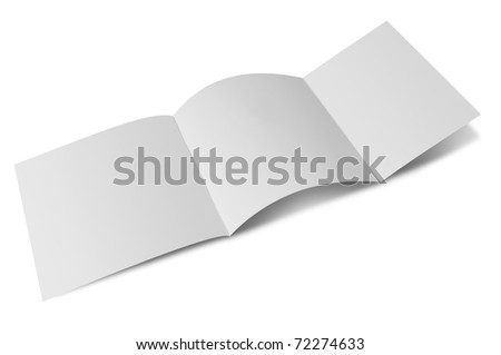Open blank folded flyer - stock photo