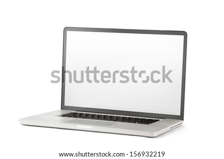 open blank laptop isolated on a white background