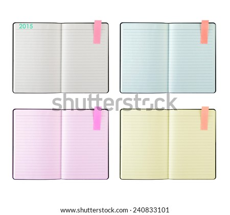 open blank lined notebook isolated on white.  - stock photo