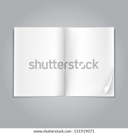 open blank magazine pages on grey - stock photo