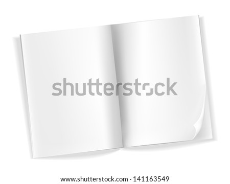open blank magazine pages on white - stock photo