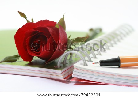open blank note book and pen with rose - stock photo