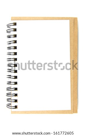 Open blank note book isolated on white background - stock photo
