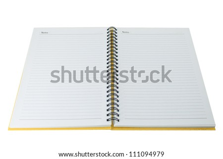Open blank note book on white - stock photo