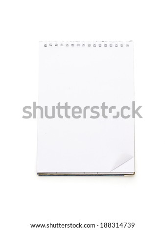 open blank note pad with ring binder, isolated on white. - stock photo