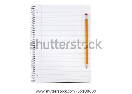 Open blank notebook and a yellow pencil - stock photo