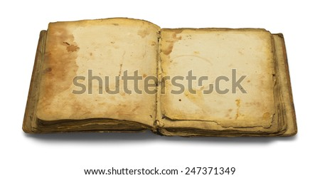 Open Blank Old Book Isolated on White Background. - stock photo